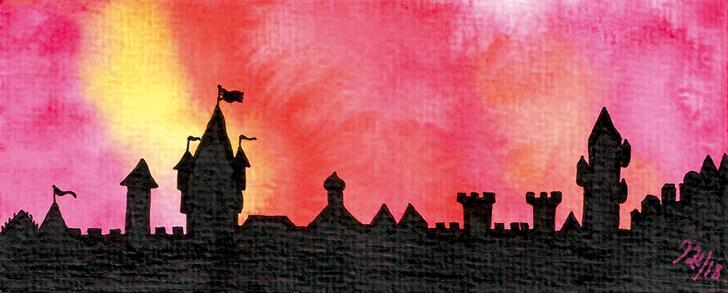 Illustration einer Stadtmauer der Stadt Cranâchaught