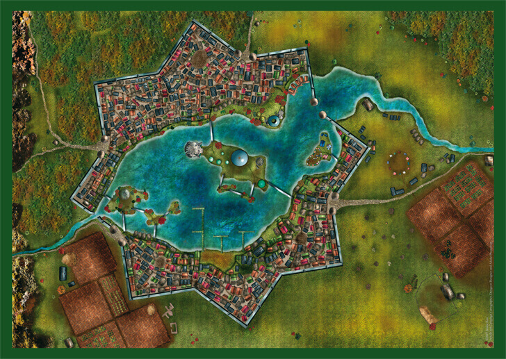 Der Stadtplan von Cranâchaught - Stadt am Lendran