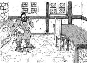 Illustration eines Zwergenkriegers in Kneipe