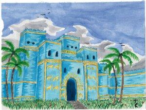 Illustration des Stadttores der aranischen Stadt Hardscha
