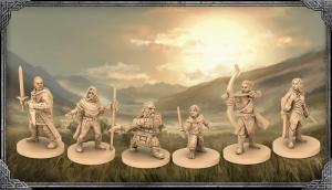 """Miniaturen der Spielerhelden aus dem Brettspiel """"Der Herr der Ringe - Reise durch Mittelerde"""" von Asmodee"""