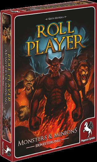 """Spieleschachtel des Brettspiels """"Roll Player - Monsters & Minions"""" vom Pegasus Verlag"""