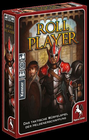 """Spieleschachtel des Brettspiels """"Roll Player"""" vom Pegasus Verlag"""