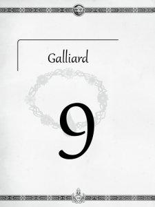 """Überschrift des neunten Kapitels Galliard aus dem """"Midgard-Schandmaul-Band 1 - Wahre Helden"""" des DDD Verlages"""