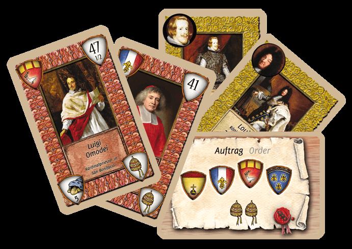 Eine Auswahl an Karten aus dem Kartenspiel 1655 - Habemus Papam