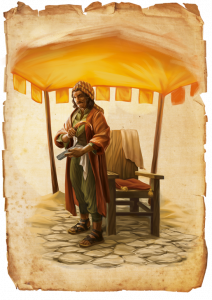 """Illustration eines Barbiers aus der Erstausgabe der Heldenstreich-Reihe """"Die Goldkröte"""" des DDD Verlages"""