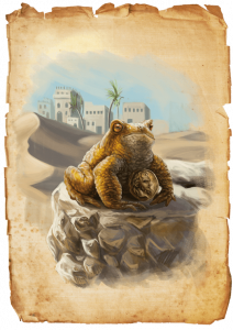 """Illustration der titelgebenden Kröte aus der Erstausgabe der Heldenstreich-Reihe """"Die Goldkröte"""" des DDD Verlages"""