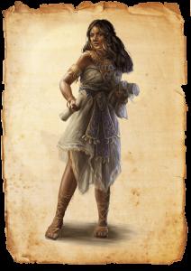 """Illustration einer weiblichen Zauberwirkerin aus der Erstausgabe der Heldenstreich-Reihe """"Die Goldkröte"""" des DDD Verlages"""