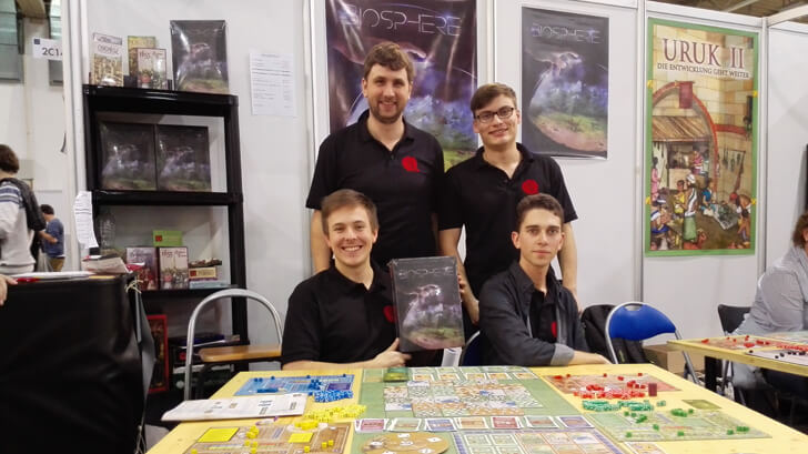 Die Autoren des Brettspiels Biosphere auf der Spiel 17 in Essen
