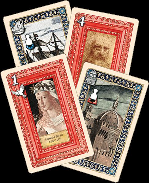 Abbildung der Spielkarten aus dem Kartenspiel Wiege der Renaissance